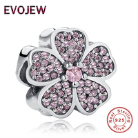 925 Sterling Silver Sparkling Pink CZ Apple Blossom Charm Beads Fit Original Pandora Bracelet Necklace Authentic