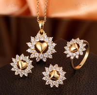 HOT sale Brand Luxury girl/Women's Silver/Rose/Yellow Gold Filled fashion style necklace Earrings rings Jewelry Sets
