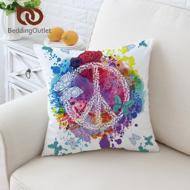 BeddingOutlet Watercolor Butterfly Cushion Cover Colorful Printed Pillow Case Throw Cover Peace Design Pillow Cover 2 Sizes