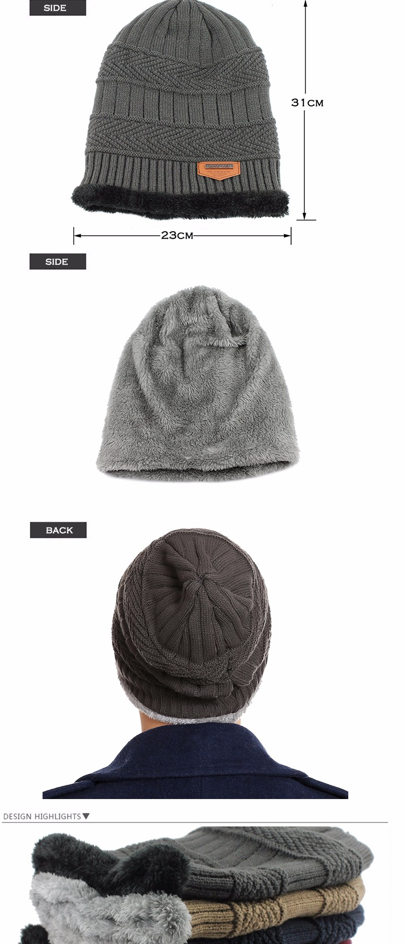 FETSBUY Pure Color Winter Skullies Beanies Hat Knit Winter Hat For Man Warm Hat Velvet Cap Bonnet Toucas Inverno Knitted Hats 64