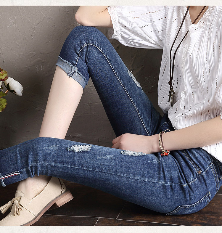 Stretch Woman Summer Capris Denim Jeans Pencil Pants Plus Size Female Skinny Jeans Trousers Ripped Hole Jeans Femme Pantalon D24