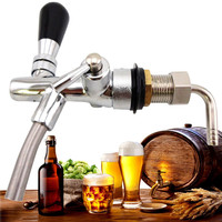 Adjustable G5/8 Kegerator Draft Shank Beer Faucet with Flow Controller Chrome Plating Tap Kit Home Brew Beer Wine Making Tool