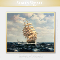 Top Artist Hand painted High Quality Seascape Battleship Oil Painting on Canvas Beautiful Wall Art Boat Riding Wind Oil Painting