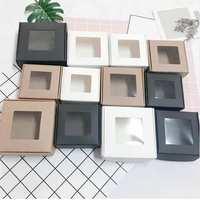 4 Size Folding Kraft Paper Box With PVC Window Blank Paper Box Jewelry Handmade Soap Gift Storage Boxes