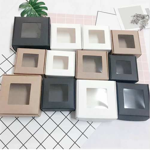Boîte de papier Kraft pliante de 4 tailles avec fenêtre en PVC boîte de papier vierge bijoux boîtes de rangement de cadeau de savon à la main