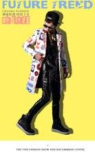 Male costume Printing long jacket outwear coat slim star show for singer dancer performance nightclub bar