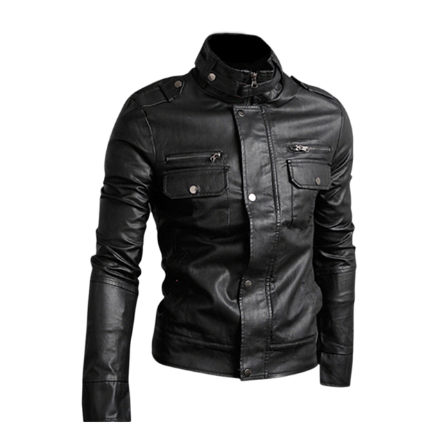 EAS Slim Top Designed Sexy PU Leather Short Jacket Coat M - Black
