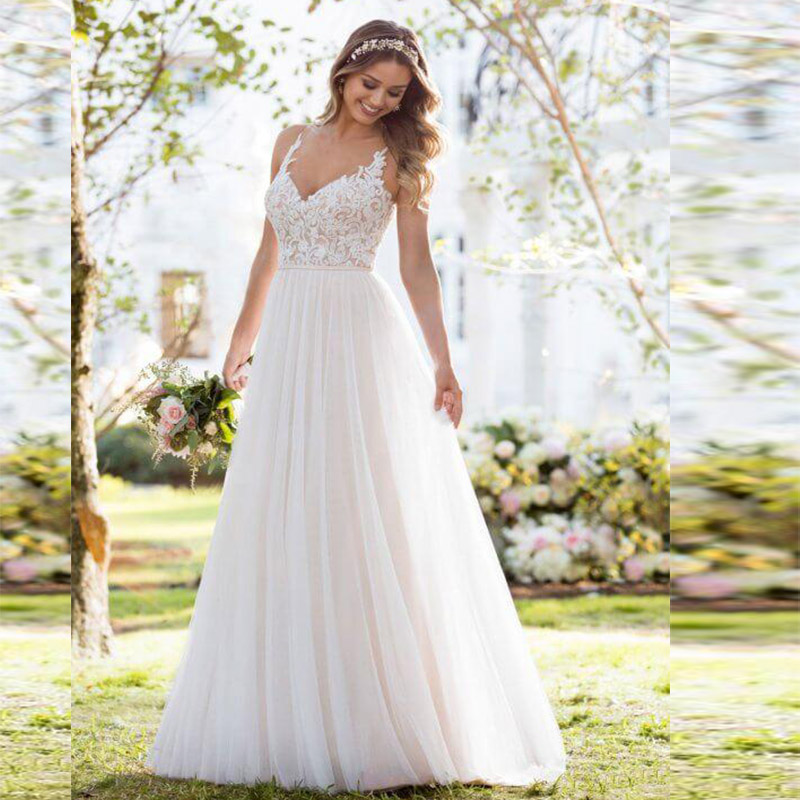 Beach Spaghetti Strap Wedding Gown: In Stock Boho Wedding Dress 2019 Hot Spaghetti Strap Lace