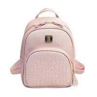 Women School Bags Crocodile Pattern Female Backpacks Shoulder Bag PU Leather