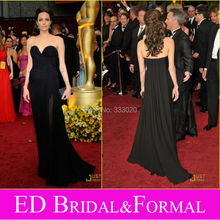 Angelina Jolie Schwarz Abendkleid zu 2009 81st Oscar Awards Roter Teppich Schatz Chiffon Höhe Aufgeschlitzte Abendkleid Berühmtheit Kleid