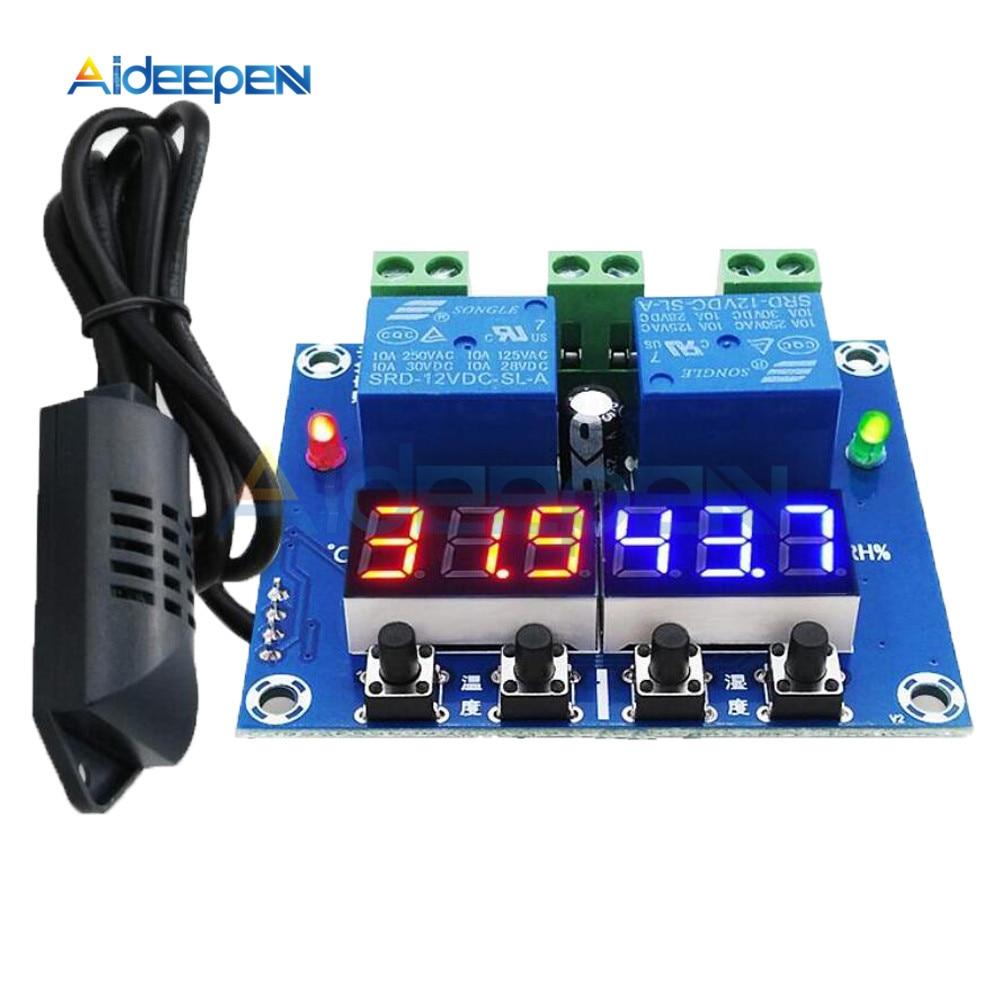 XH-M452 cc 12V termostato digital LED temperatura humedad Control termómetro controlador de higrómetro módulo de relé sonda AM2301 Regalo Idea despertador Digital con termómetro higrómetro humedad temperatura reloj de mesa escritorio cargador de teléfono