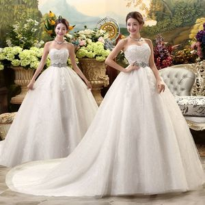 Image 1 - White Hot Sale Royal Train 2019 Romantic Luxury Wedding Dresses With Tail Sexy Vintage Bridal High Lace Wedding Dress