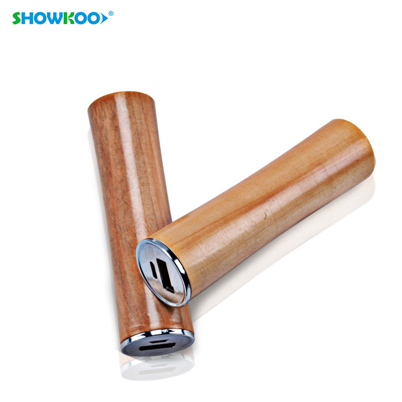 SHOWKOO 1800mAh Wooden Power Bank Mini Natural Wood Powerbank External Battery Portable Charger for Android Phone