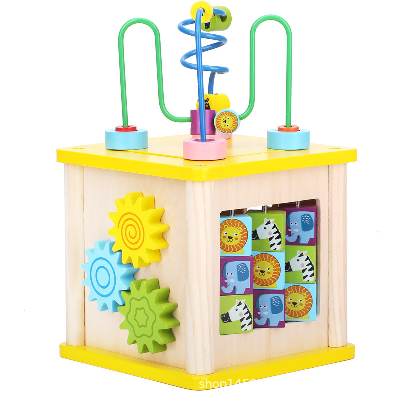 Jouets pour bébés 13-24 Mois jeu éducatif Table Montessori Matériaux 3d Puzzle En Bois perles rondes Jouets pour Enfants Garçons