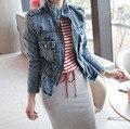 2017 Новых Женщин Дамы Vintage Тонкий Джинсовой Жан Нагрудные Молнии Пальто Байкер Куртки Топы Размер S, M, L