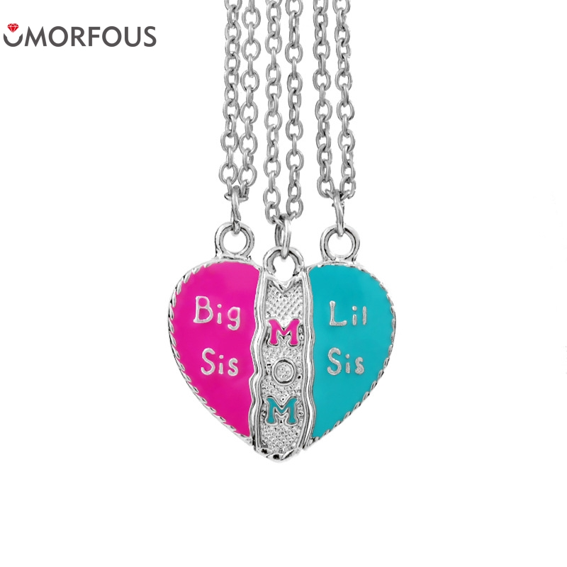10 Sets/Lot Hot Jewelry Big Sis Mom Lil Loving Heart Stitching Necklace With Colorful Enamel For Gifts Families