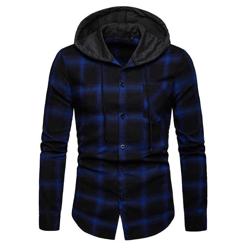 Классический плед с капюшоном рубашка Для мужчин 2019 новые весенние с длинным рукавом мужская одежда рубашки Slim Fit Повседневная рубашка с карманом мужской уличной Camisa