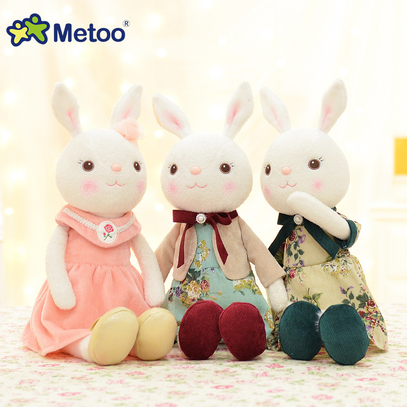 Metoo 43cm Rabbit Doll Plush Stuffed Animal Toys for Girls Boys Children Birthday Christmas Gift High Quality Cute Bunny Dolls 20cm high quality hello kitty plush toys hug pillow fruit kt cat stuffed dolls for girls kids toys gift mini animal plush doll