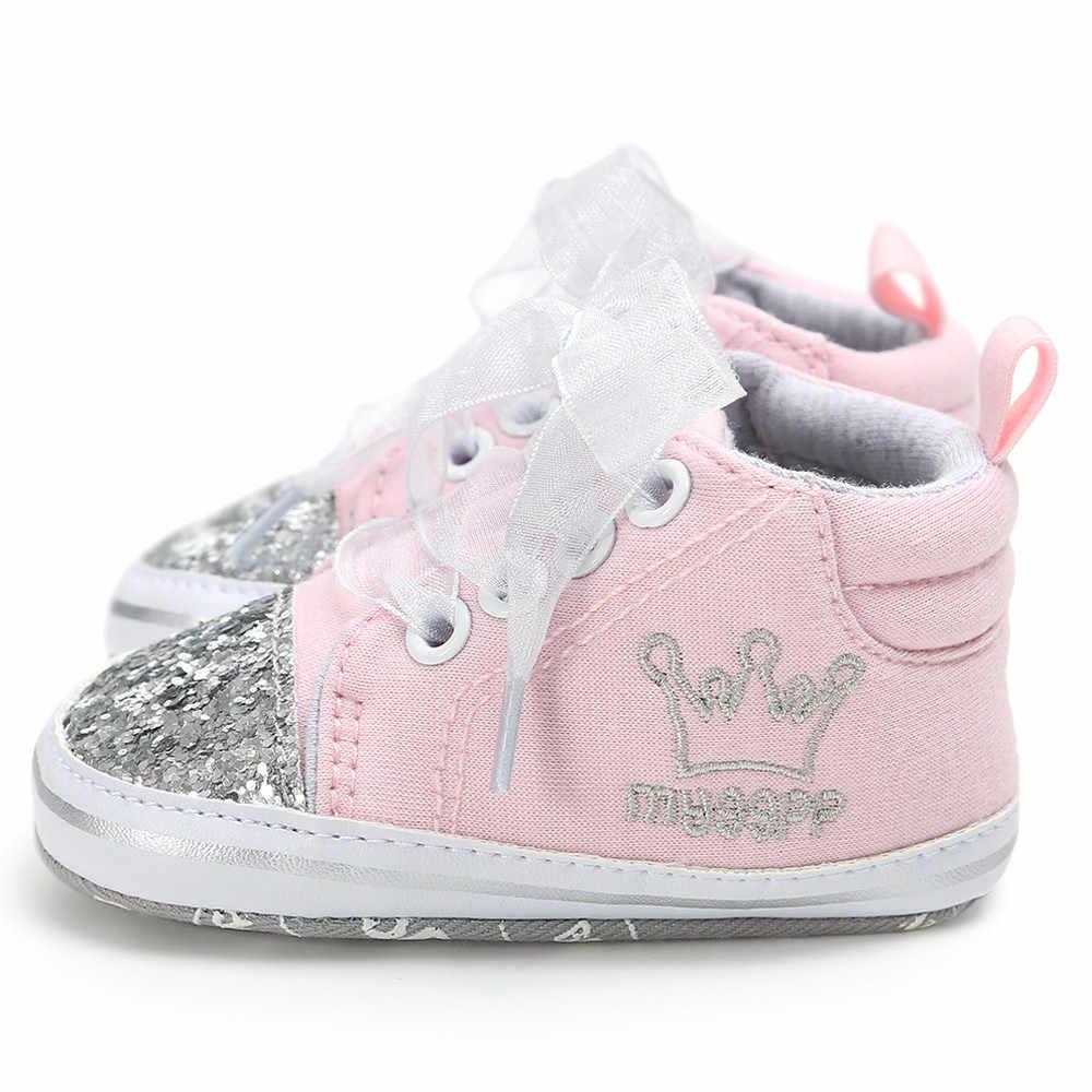 2018 Fasion חם למכור הטוב ביותר מתנת יילוד תינוק בני בנות Atumu בד להחליק על רך בלעדי נעליים לפעוטות ראשון הליכון