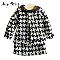 Amya Baby Girls Boutique Sets Wool Jackets + Skirt 2pcs Kids Autumn Winter Clothes Christmas Girls Clothing Set Toddler Outfits
