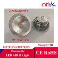 Nova 7 W 10 W 14 W Dimmabe COB Acentuada levou luz AR111 Gu10 E27 G53 luzes 12 V 110 V 220 V 230 V QR111 lâmpada de iluminação lâmpada lâmpadas grátis navio