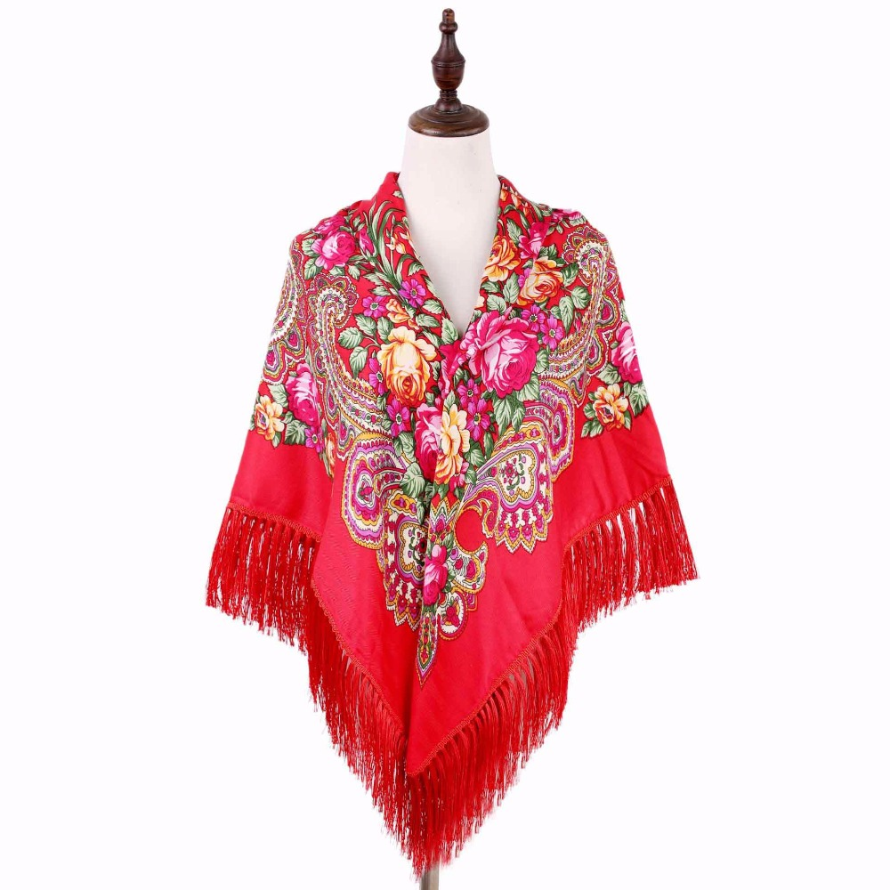 High Quality Russian Ethnic Hair Scarf for Ladies Flower Print Cotton Pashmina Tassel Winter Women Scarves Plus Size 110*110CM