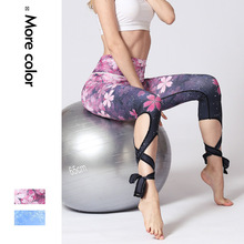 Women Yoga Pant Bandage Flower Printed Tummy Control Trouser Leggings Running Jogger Fitness Gym Workout Sportswear