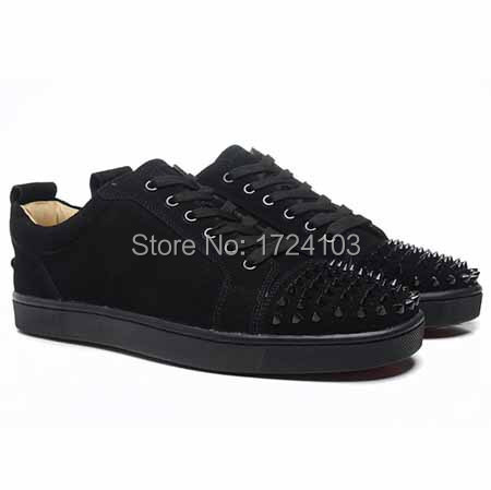 Red Bottom Men CLASSIC RED BOTTOM LOUIS JUNIOR SPIKES TOE BLACK SUEDE MENS  FLAT SNEAKER d96e66575