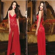 Hot Red Black Women's Sleepwear Lingerie Dress G-String Long Robe Underwear Female Dress Girls Clothing Summer Spring
