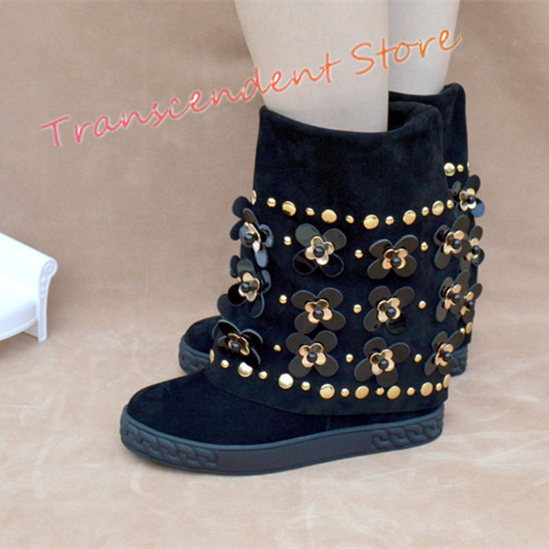 Women Genuine Leather Suede Mid-Calf Boots New Fashion Height Increasing Boots Spring Autumn Bling Flower Decorated Women Shoes