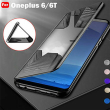 For Oneplus 6 6T Case Smart View Clear Mirror Flip Leather for One plus 1+6 1+6T Phone Bag Funda