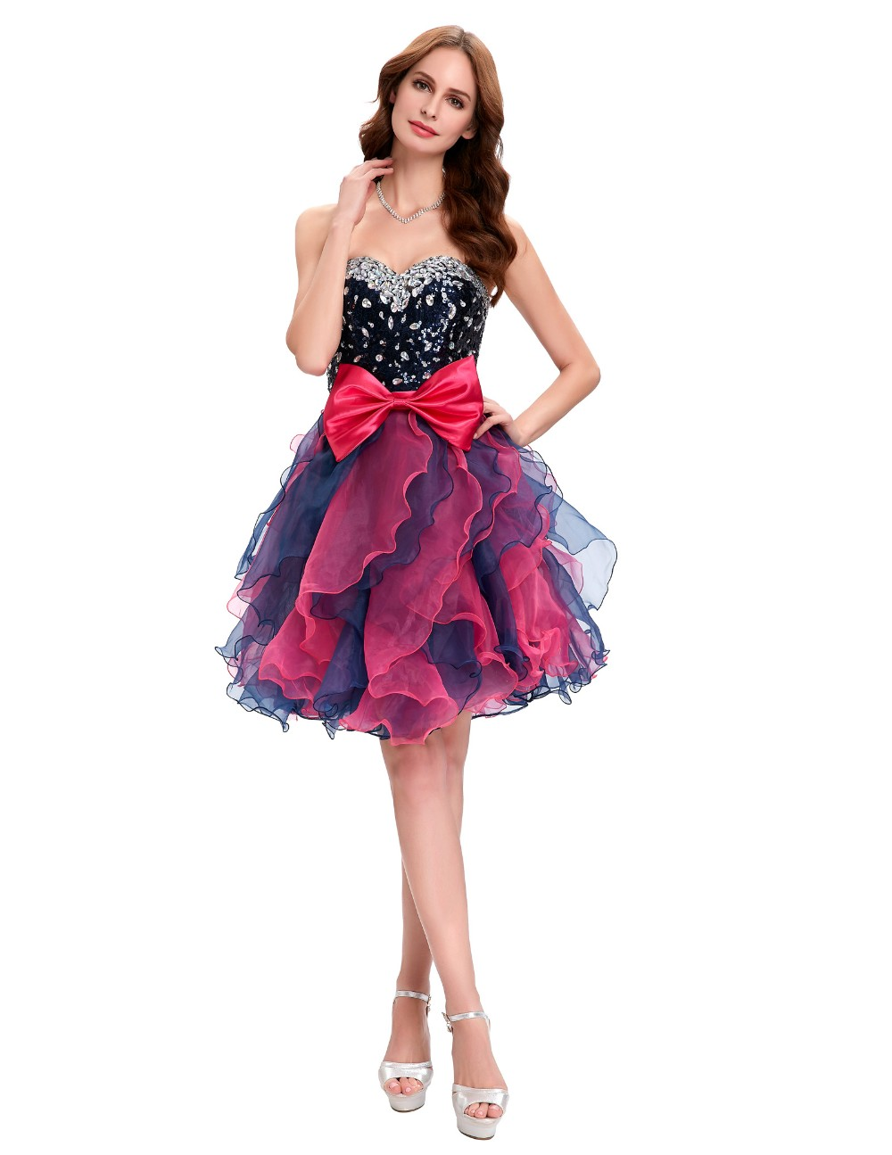 Grace Karin Short Prom Dress Ball Gown Robe De Cocktail Colorful Sequin Organza Prom Gowns Sexy Party Special Occasion Dress 7