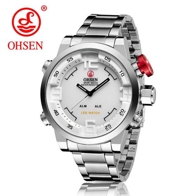 32750f1a027 Homens Relógios OHSEN Relógio dos homens de Luxo Da Marca de Quartzo de Aço  Completo Relógio