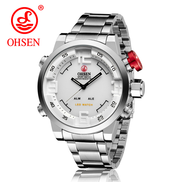 8892659dab7 Men Watches OHSEN Watch Men s Luxury Brand Full Steel Quartz Clock Fashion  LED Watch Army Military Sport Watch relogio masculino