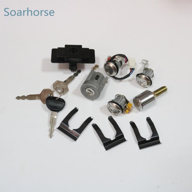 Soarhorse car Ignition+Glove box+Spare tire+Door Lock Cylinder & Key Set for Mitsubishi Pajero montero MK2 2nd V32 4G54 цена и фото