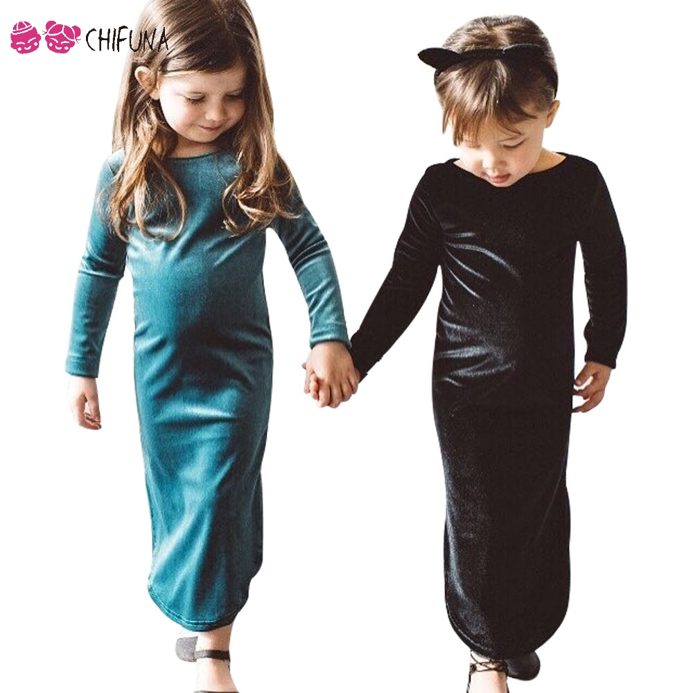Chifuna New Fashion Girls Long Dress Gold Velvet Pure Long Sleeve Dress 2018 Children Clothing Kids Long Dress For Girls sunflower long sleeve surplice dress