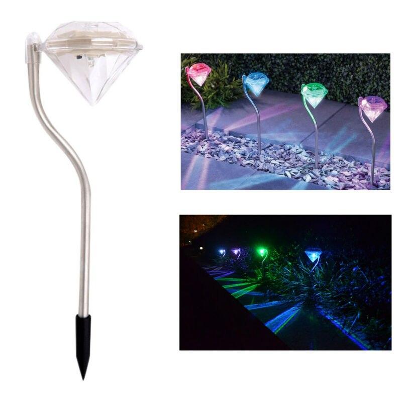 20pcslot modern design garden path stake lanterns outdoor lamps led solar powered diamonds lawn