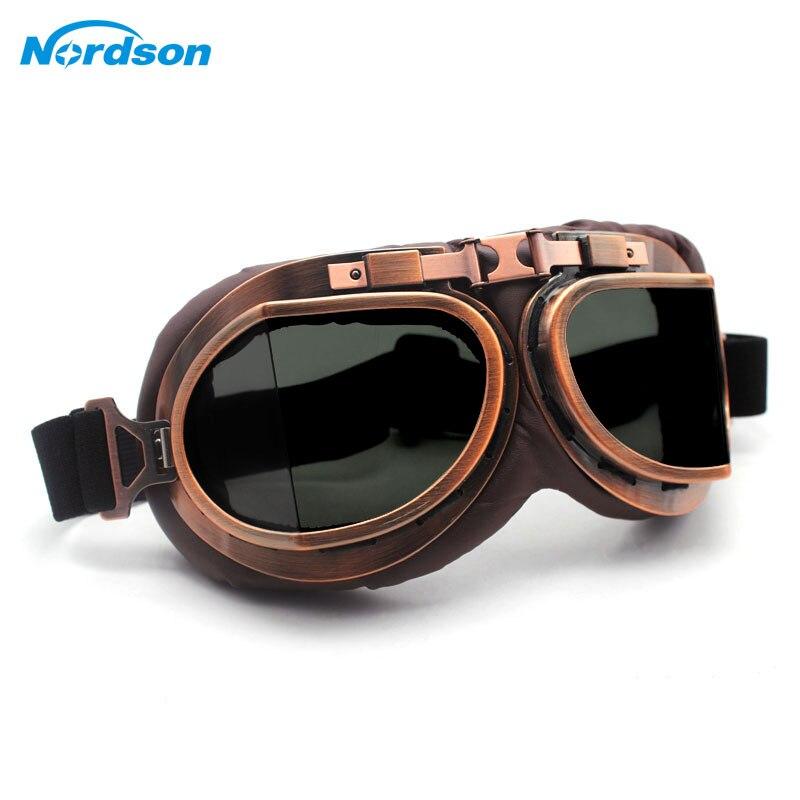 Gafas Nordson motocicleta gafas Vintage motocicleta gafas clásicas aviador Retro Para Harley protección gafas protección UV