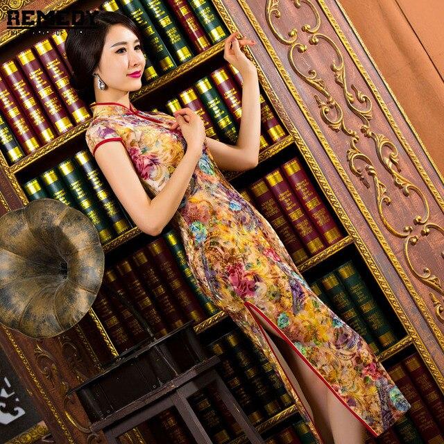 Chinese Women's Satin Cheongsam Qipao Long Evening Dress S M L XL XXL Chinese Oriental Dresses Traditional Velvet Chinese Dress