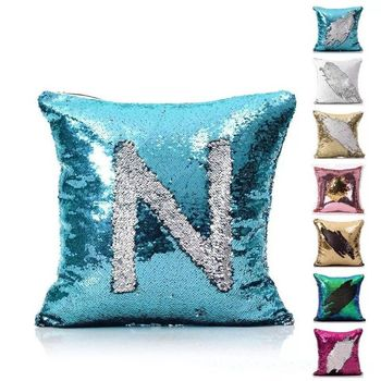 DIY Fashion Mermaid Sequin pillow cover Cushion Cover Double Glitter Color Changing Reversible Sofa Car Pillowcase Decorations Велюр
