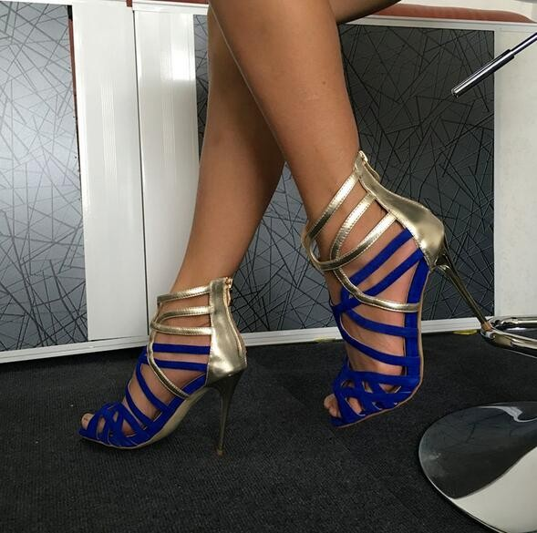 Hot Selling Blue Silver Cross Strap Sandals For Women High Heel Cut-out Peep Toe Cage Shoes Sandals For Woman Free Shipping zipower pm 5139