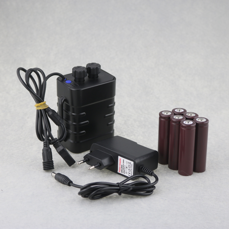 USB + DC Output Rechargeable 18650 Battery Pack 6x18650 9000mah External Battery Power Bank For Led Bike Light , Mobile Phone