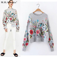 M H Artemis Floral Embroidery Round Neck Thick Sweater Woman Warm Top Grey Pullover Winter Long