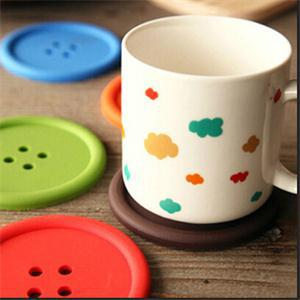 Zeegle <font><b>Silicone</b></font> <font><b>Round</b></font> <font><b>Coasters</b></font> <font><b>Buttons</b></font> <font><b>Shape</b></font> Table Mat <font><b>Cute</b></font> <font><b>Button</b></font> <font><b>Cup</b></font> Mat No Slip Placemat 5 pcs/lot