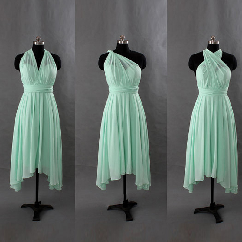 Mint green short convertible chiffon bridesmaid dresses for Short green wedding dresses