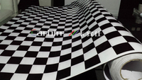 Black And White Chess Board Design Sticker Bomb Vinyl Wrap For Car Free Shipping