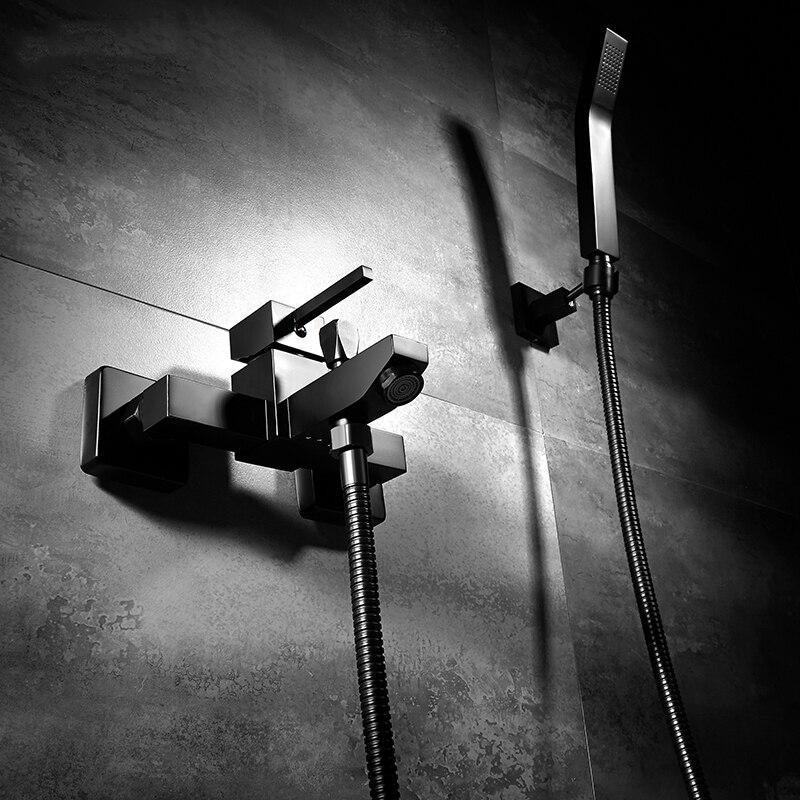 Robinet de douche de salle de bain moderne ensemble en laiton mitigeur de douche mural robinet de baignoire noir chaud et froid cascade douche de bainRobinet de douche de salle de bain moderne ensemble en laiton mitigeur de douche mural robinet de baignoire noir chaud et froid cascade douche de bain
