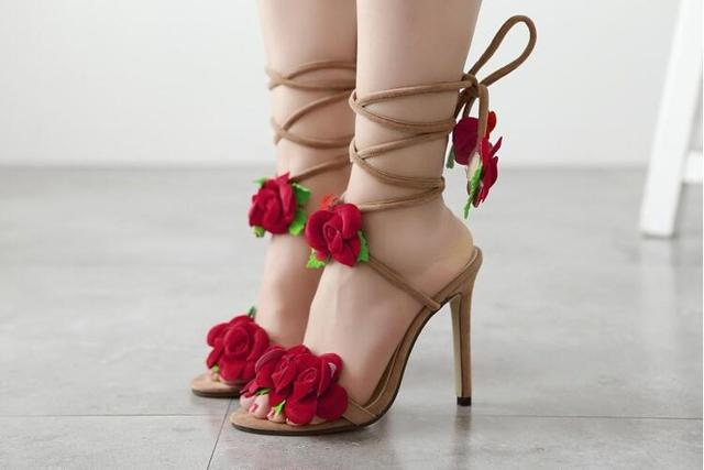 Girls cute red flower sandals slingbacks shoes lace up heels open ...
