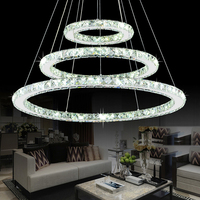 Modern pendant lights for kitchen living dining room 3 Circle Rings led crystal aluminum body Pendant Lamp fixtures lighting