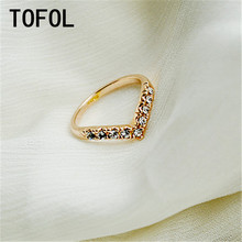 TOFOL Women V-shaped design Style Ring Retro Crystal Gold Silver Color Wedding Rings Jewelry